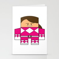 power rangers Stationery Cards featuring Mighty Morphin Power Rangers - The Original Pink Ranger Unmasked (Kimberly) by Choo Koon Designs