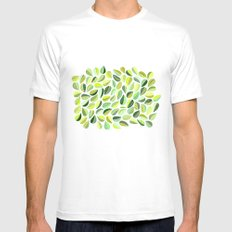 Leaf Green MEDIUM White Mens Fitted Tee