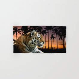 Tropical Tiger in Golden Sunset Hand & Bath Towel