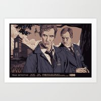 true detective Art Prints featuring TRUE DETECTIVE by Mike Wrobel