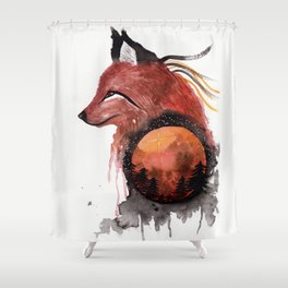 Tetrad the Bloodmoon Fox Shower Curtain