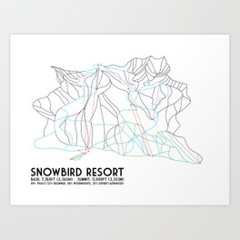 Snowbird, UT - Minimalist Trail Map Art Print