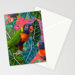 Parrots and Tropical Leaves Stationery Cards