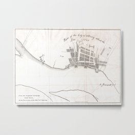 Vintage Map of Albany New York (1770) Metal Print
