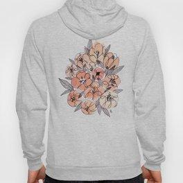 Pink Inky Floral - Watercolor Flowers - Ink Hoody