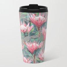 Pink Painted King Proteas on grey Metal Travel Mug