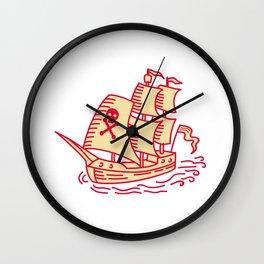 Pirate Sailing Ship Galleon Mono Line Wall Clock