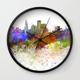 Providence skyline in watercolor background Wall Clock