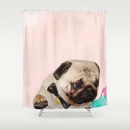 Party pug puppy print Shower Curtain