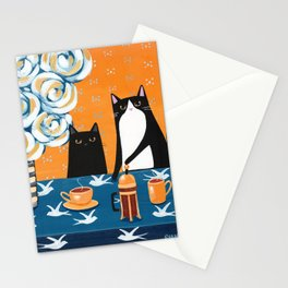 Orange and Blue French Press Cats Stationery Cards