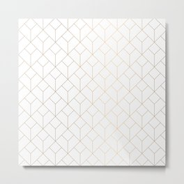 Golden Modern Abstract Geometric Pattern On White Background Metal Print