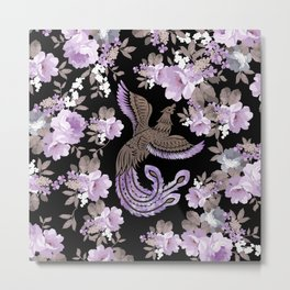 Phoenix Bird with watercolor flowers Metal Print