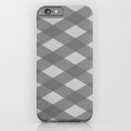 Pantone Pewter Gray Argyle Plaid Diamond Pattern iPhone Case