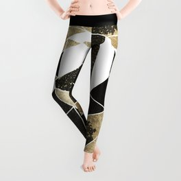 Modern Rustic Black White and Faux Gold Geometric Leggings
