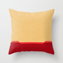 Dark coral red and Beige Line Throw Pillow