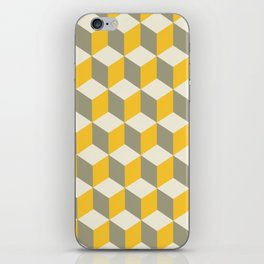 Diamond Repeating Pattern In Yellow Gray and White iPhone Skin
