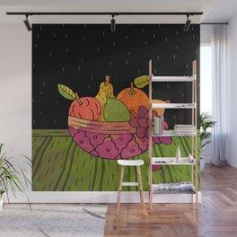 Fruit Bowl Linocut (Colour on Black) Wall Mural