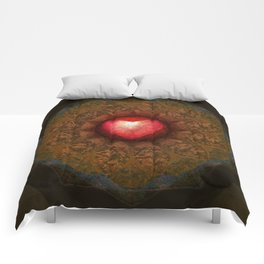 Valentine Heart Mandala Abstract (Love Overcomes the Darkness) Comforters