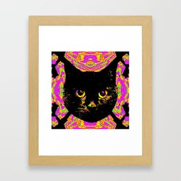 Purple Streak Quad Cat Framed Art Print