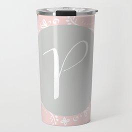 Garland Initial P - Grey Travel Mug