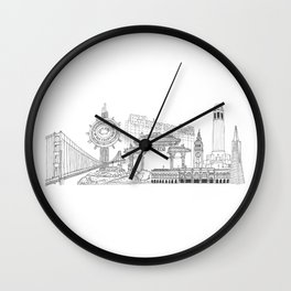 San Francisco by the Downtown Doodler Wall Clock