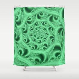 Fractal Web in Flourescent Green Shower Curtain