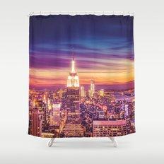 New York City Dusk Sunset Shower Curtain