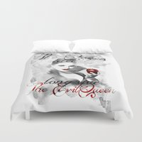 evil queen Duvet Covers featuring Long live the Evil Queen by Clara J Aira
