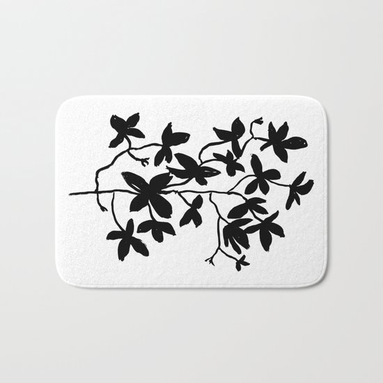 Plant black and white minimal modern art india ink painting brushstrokes freespirit brooklyn hipster Bath Mat