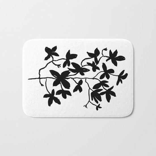 Plant black and white minimal modern art india ink painting brushstrokes freespirit brooklyn hipster Bath Mat