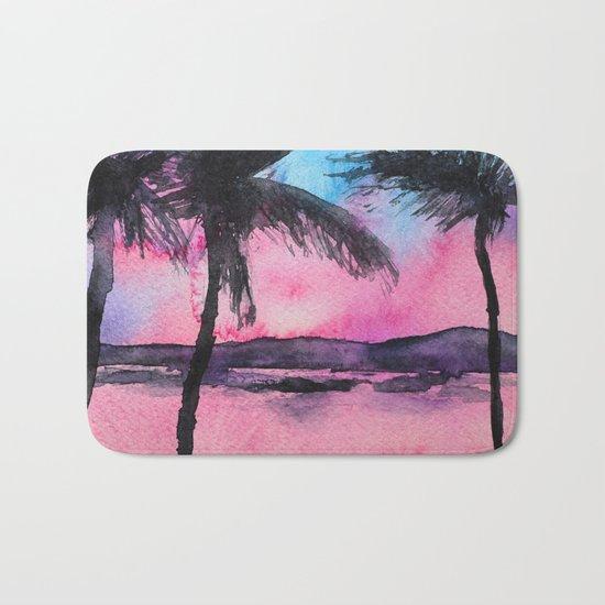 Tropical sunset || watercolor Bath Mat
