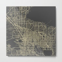 Tucson Map yellow Metal Print