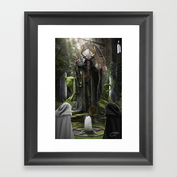 V. The Hierophant Tarot Card Illustration (Color) Framed Art Print