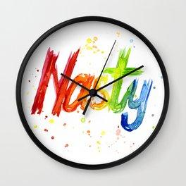 Nasty Woman Rainbow Watercolor Text Wall Clock