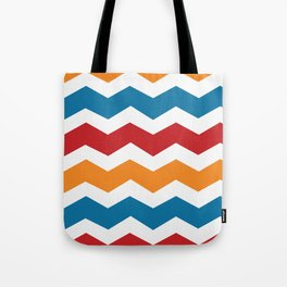 Blue Red Orange Chevron Tote Bag