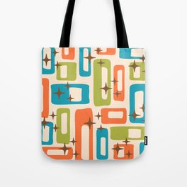 Retro Mid Century Modern Abstract Pattern 921 Orange Chartreuse Turquoise Tote Bag