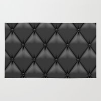 leather Area & Throw Rugs featuring black leather by Cardinal Design
