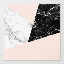 Black white marble blush pink color block Canvas Print