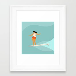 Surf girl Framed Art Print