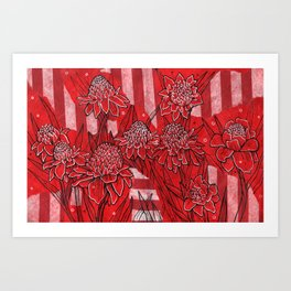Torch Ginger Lily, Tropical Flowers, Floral Botanical Art Print