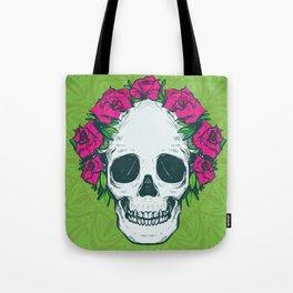 Hippie Flowers in my Hair Rosy Dios De Los Muertos Sugar Skull Tote Bag