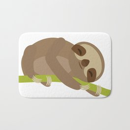 funny and cute Three-toed sloth on green branch Bath Mat