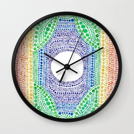 Rainbow Dot Mandala Wall Clock
