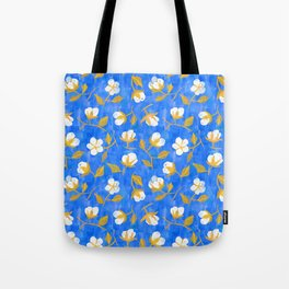Painterly cotton flowers // in cobalt blue Tote Bag