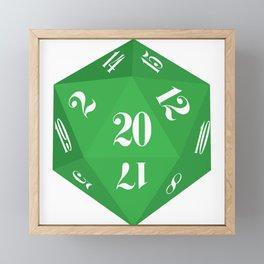 Green 20-Sided Dice Framed Mini Art Print