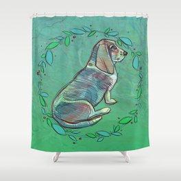 Illustration ; Basset Hound Shower Curtain