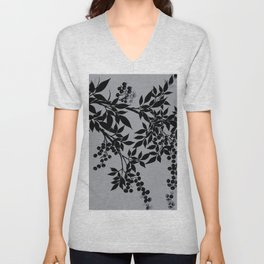 TREE BRANCHES BLACK AND GRAY LEAVES AND BERRIES Unisex V-Neck