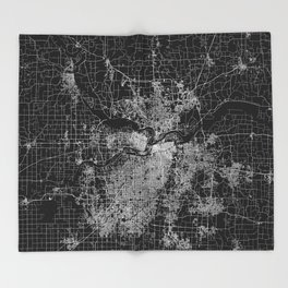 Kansas City map Throw Blanket