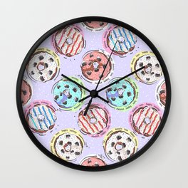 Donut Love Pattern Wall Clock