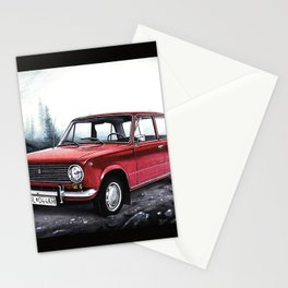 RUSSIAN LADA IN RED WITH SLOVAKIA TATRY MOUNTAINS IN THE BACKGROUND Stationery Cards